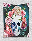 Ambesonne Skulls Decorations Collection, Big Flowers and Skull Design Skeletons All Saints Day Halloween Image, Bedroom Living Room Dorm Wall Hanging Tapestry, Soft Purple Pink Green