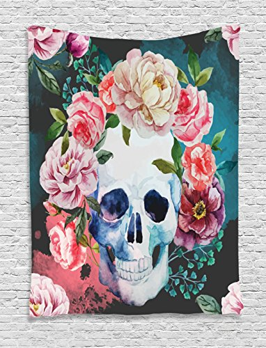 Ambesonne Skulls Decorations Collection, Big Flowers and Skull Design Skeletons All Saints Day Halloween Image, Bedroom Living Room Dorm Wall Hanging Tapestry, Soft Purple Pink Green -