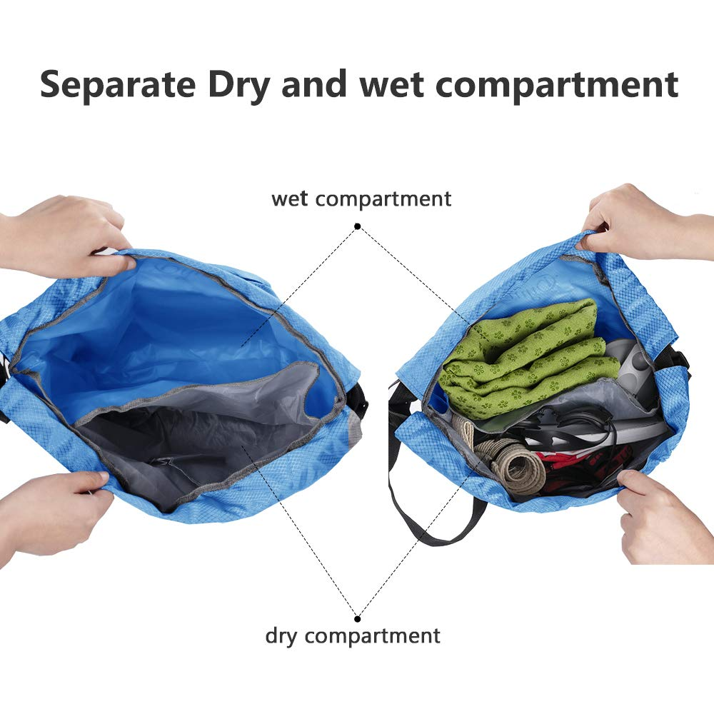 ZOORON Dry-wet Seperation Drawstring Swim Bags for Men//Women//Swimmers with Shoes Compartment Foldable Waterproof String Backpack Swimming Pool Beach Travel Gym Bag