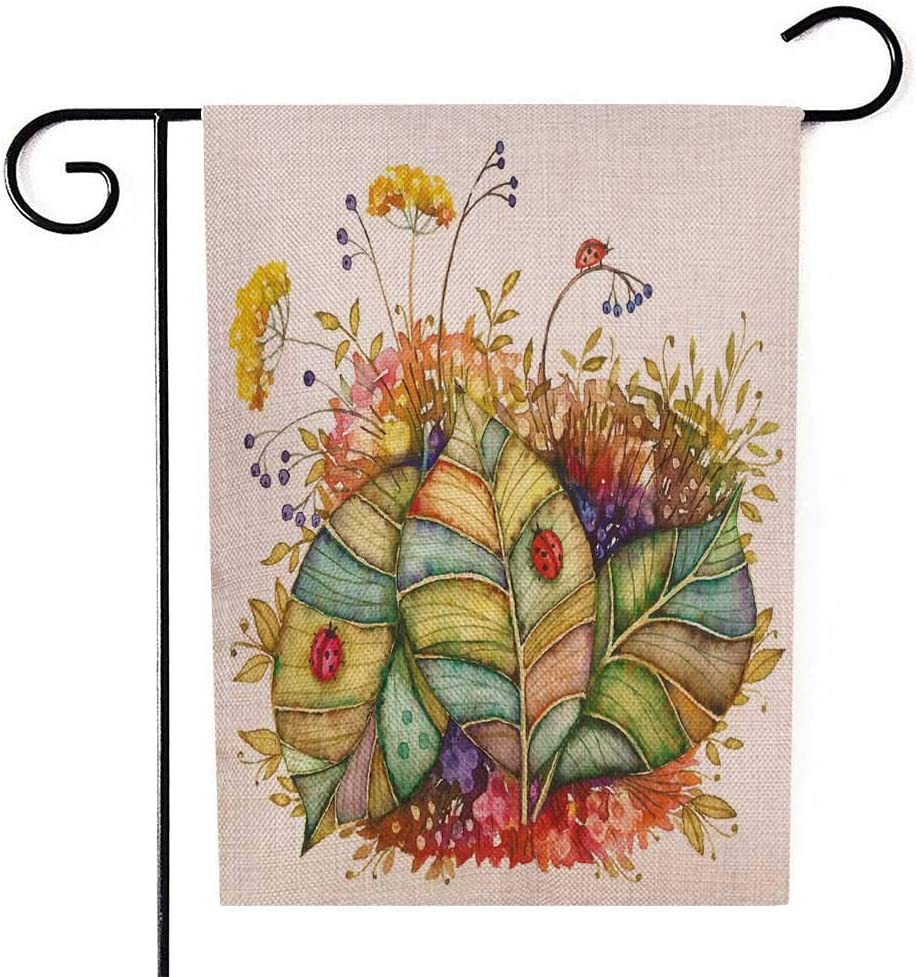 Amazon Com Grootey Flag Garden Spring Garden Flag Home Yard Decorative 12 5x18 Inches Two Ladybugs Sitting Leaves Painted In Watercolor The Double Sided Seasonal Spring Garden Flags Kids Summer Garden Flag