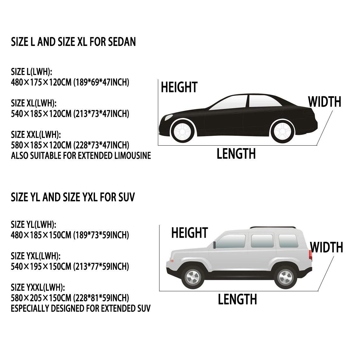 Berlina XL Telo Copriauto 4.8m 5.4m 5.8m con Cotone Impermeabili Antivento Cintura Berlina SUV Limousine veicoli estesi Neve graffi Resistente con Apertura a Cerniera Universale per tutte le auto