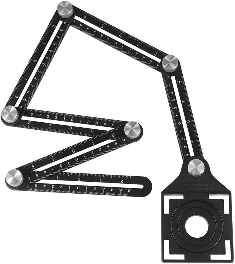 Blingbin Lochung Ortungsger/ät Angleizer Template Tool 6 Messinstrumente Klapplineal Multifunktionslineal aus hochwertiger Aluminiumlegierung