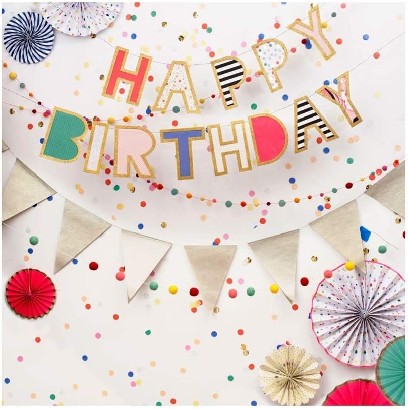 7x7ft Happy Birthday Polyester Photography Background Colorful Spots Triangle Fragments Ornaments Backdrop Child Kids Baby Birthday Party Banner Cake Smash Childish Wallpaper