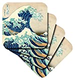 3dRose The Great Wave Off Kanagawa by Japanese Artist Hokusai - Dramatic Blue Sea ocean Ukiyo-E Print 1830 - Soft Coasters, Set of 4 (cst_155631_1)