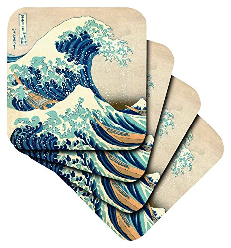 3dRose The Great Wave Off Kanagawa by Japanese Artist Hokusai - Dramatic Blue Sea ocean Ukiyo-E Print 1830 - Soft Coasters, Set of 4 (cst_155631_1) by 3dRose