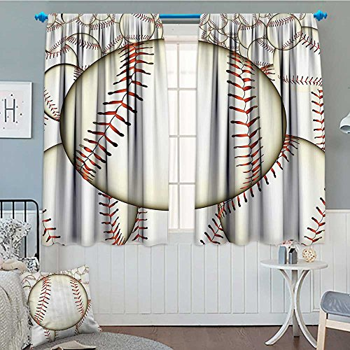Strongger Sports Decor Blackout Window Curtain Pattern of Baseball Balls Background Home Run Rules of The Game Success Score Print Customized Curtains 52