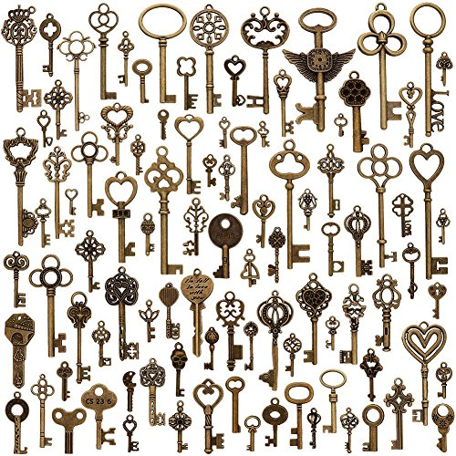 Keyzone 100 Pcs Vintage Antique Bronze Mixed Skeleton Key Charms Pendants DIY for Jewelry Making and Handmaking -