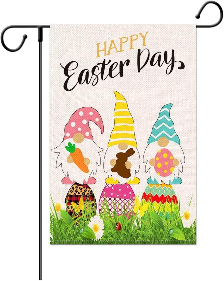IETFULL Easter Garden Flag Easter Yard Flags for Outside 12x18 Double Burlap Vertical Sided Easter Yard Flag for Outdoor Easter Decoration