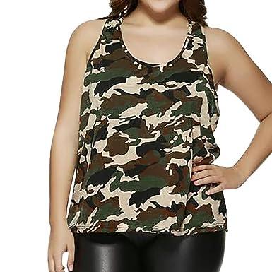 6c065f685aa9c Masrin Women Plus Size Sleeveless Camouflage Vest Blouse Tank Tops Camis  Clothes: Amazon.co.uk: Clothing
