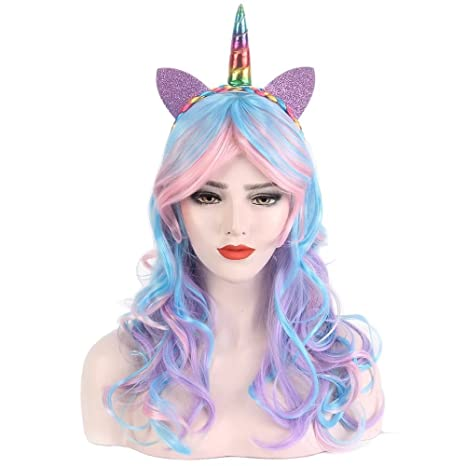STfantasy Peluca mujer unicornio Ondulado Onda rizado Ombre encantadoras wig para uso diario carnaval halloween fiesta