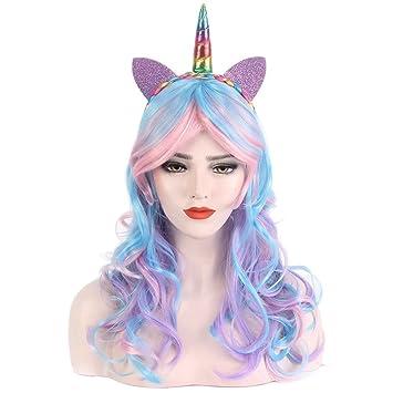 STfantasy Peluca mujer unicornio Ondulado Onda rizado Ombre encantadoras wig para uso diario carnaval halloween fiesta de disfraces Cosplay: Amazon.es: ...