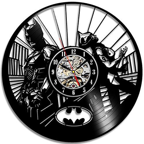 Batman and Catwoman Vinyl Record Wall Clock - Decorate your home with Modern Large Superhero Art - Gift for friend, man and women - Win a prize for a feedback