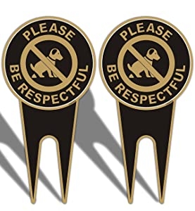 2 Pack No Dog Poop Yard Signs Double Sided Please Be Respectful Sign 6 x 12 Inches No Poop and Pee Dog Yard Warning Sign Sturdy Aluminum Weather Resistant UV Protect Durable Ink Easy to Install