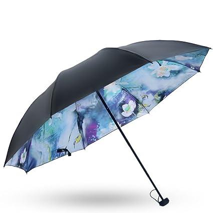 Paraguas plegables Sombrilla plegable mini paraguas paraguas negro vinilo paraguas UV (Color : A)