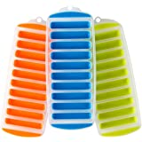 2 Ice Cube Trays with Easy Pop Out Narrow Ice Stick Cubes for Sport and Water Bottles Pack of 2 (Orange)