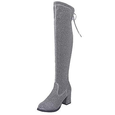 102ede831e16b CIELLTE Chaussures Bottines Femme Haute Bottes Hiver Boots Dessus Genou  Chaussures de Ville Habillée Soirée Talon