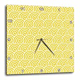 3dRose Yellow and White Swirls Pattern – Wall Clock, 10 by 10-Inch (dpp_210896_1) For Sale