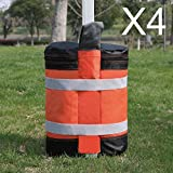 ABCCANOPY Super Heavy Duty New Premium Instant Shelters Weight Bags (55 lbs/Bag) - Set of 4 - Orange/Black