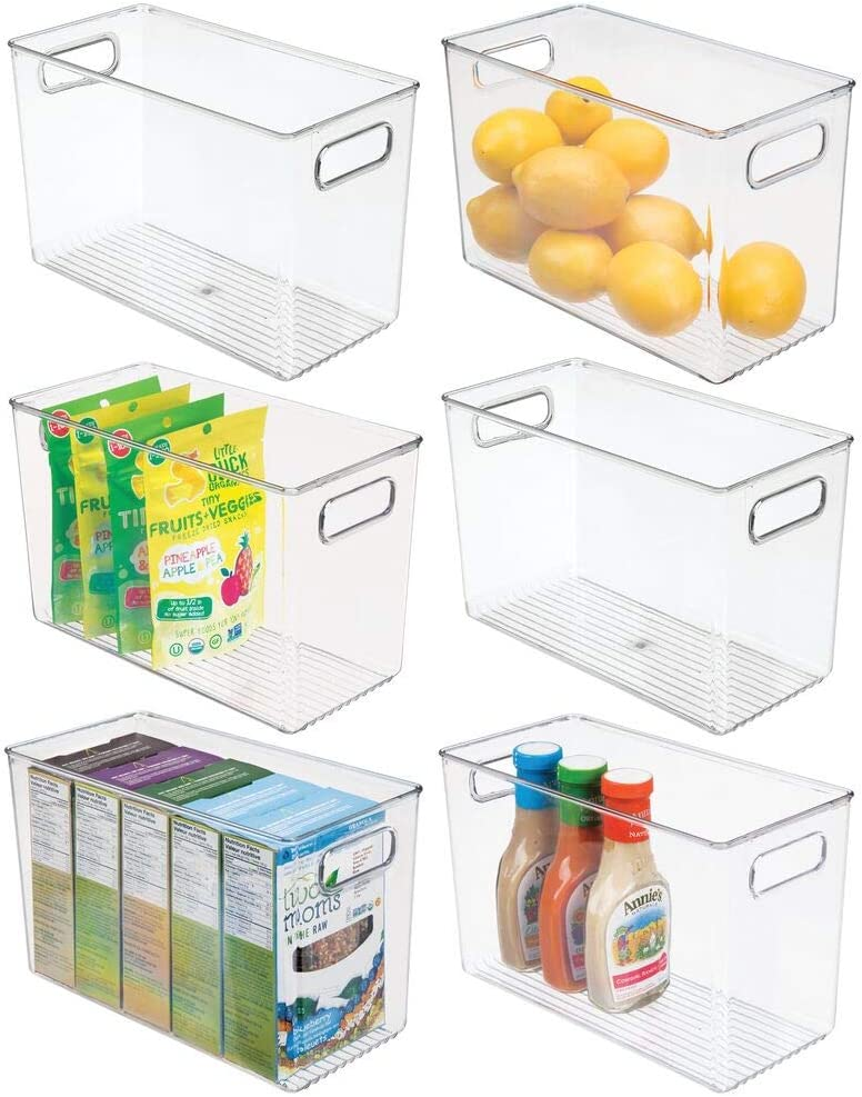 mDesign Plastic Food Storage Container Bin with Handles - for Kitchen, Pantry, Cabinet, Fridge/Freezer - Narrow for Snacks, Produce, Vegetables, Pasta - BPA Free, Food Safe - 6 Pack - Clear