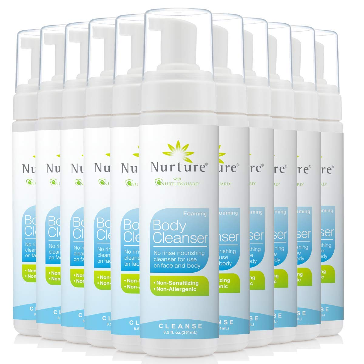 Rinse Free Body Wash Cleanser | No Rinse Foaming Body Wash That Cleanses, Moisturizes, and Protects Skin - Non Allergenic - Non sensitizing - Wipe Away Cleanser - 12 Bottles