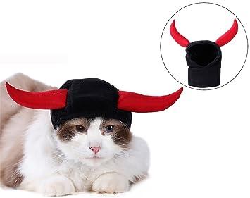 Sombrero para Mascota Halloween Ox Horn Hat Perro Gato Mascota Capucha Accesorios de Aseo Disfraz de Fiesta Accesorios de Cosplay: Amazon.es: Productos para ...