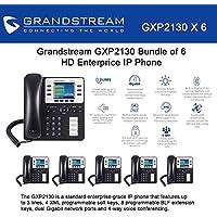 Grandstream GXP2130 Bundle of 6 HD Enterprise IP phone 3 lines Color LCD PoE