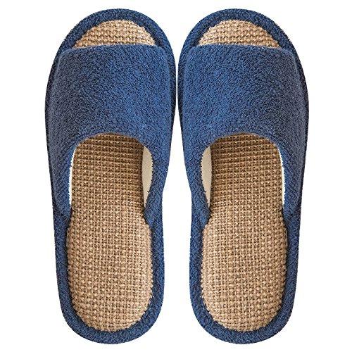 Inferior Primavera Dormitorio Damas Lino y La Piso Blue Zapatillas Mariposa YMFIE Navy Nudo Antideslizante Home Zapatillas Verano Toe Blanda el qFOPw5