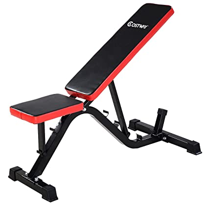 Goplus Adjustable Sit Up AB Incline Abs Bench Flat Fly Weight Press Gym Red Crosstrainer