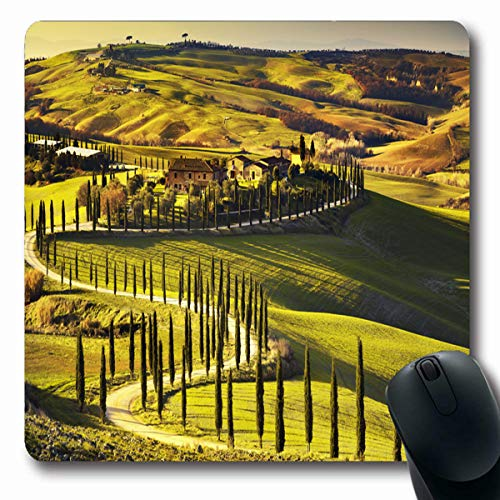 (Tobesonne Mousepads Italian Tuscany Rural Sunset Countryside Farm Cypresses Trees Chianti Green Field Sun Light Cloud Oblong Shape 7.9 x 9.5 Inches Non-Slip Gaming Mouse Pad Rubber Oblong Mat)