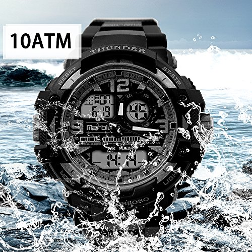 Men's Outdoor Sports Waterproof Digital Analog Double Time Zone LED Backlight Stopwatch Fashion Trend Military Watch