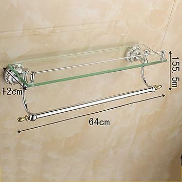 Baldas de baño Estante de almacenamiento Baño Estante de vidrio templado Estante individual Cosméticos Estantería para baño con estante para toallas ...