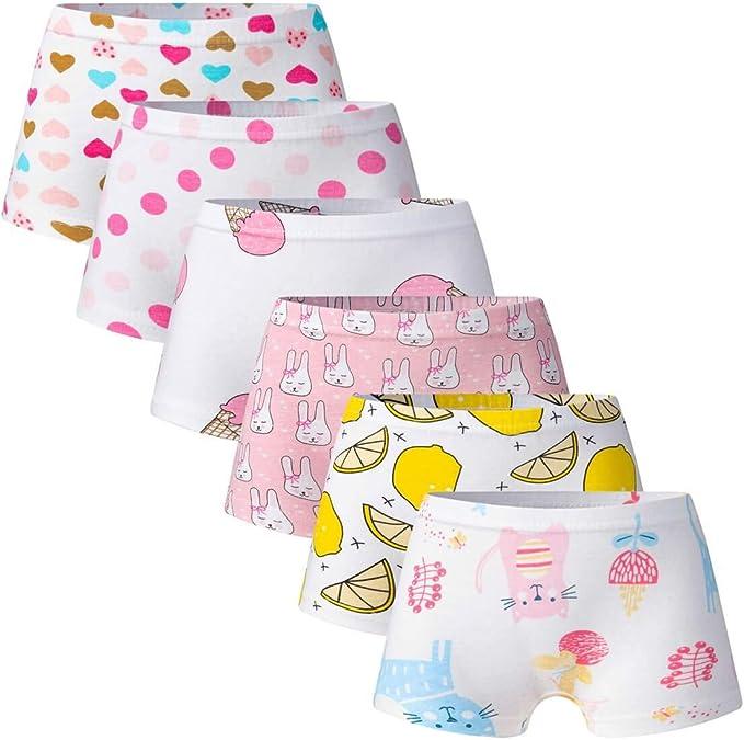 6-Packs Toddler Little Girls/' Boyshort Panties Kids 100/% Cotton Briefs Underwear
