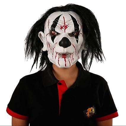 MJ-Mascarilla Máscara de Fantasma de Halloween, Sombrero de látex de Rostro Completo Blanco