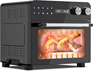 MOOSOO Air Fryer Oven, 24.3 Quart Air Fryer Toaster Oven Combo for Large Family, 1700W Airfryer Convection Oven with Dehydrator and Rotisserie, Digital LED Touchscreen & Control Dial (100 Recipes)