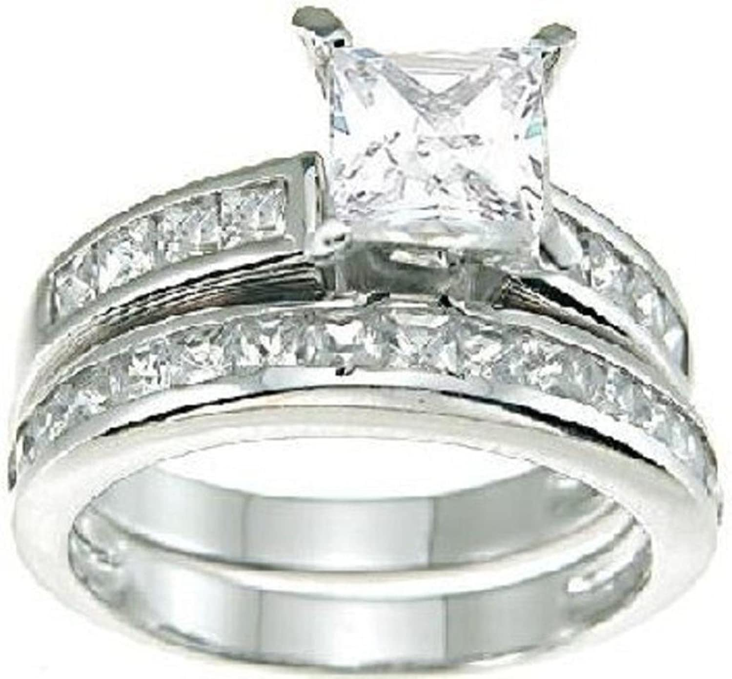 princess cut white cz wedding band engagement ring set