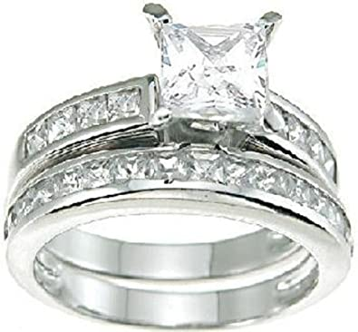 com princess cut wedding band enement ring set in 925 - Princess Cut Wedding Ring Sets