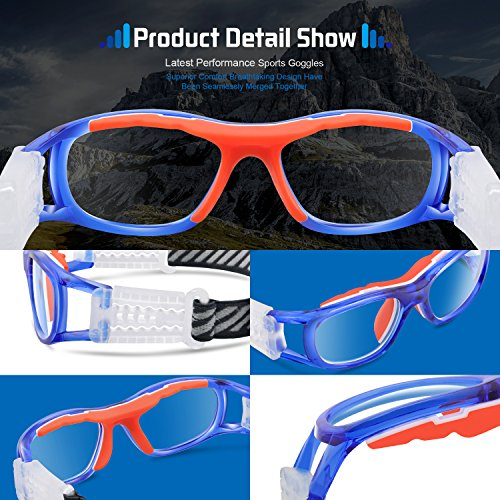 affbd95b0ac Ponosoon Sports Goggles Glasses for KIDS for Basketball Football Volleyball  1812(Transparent Blue)