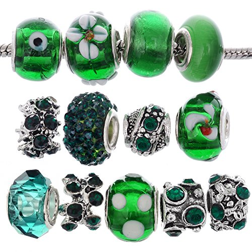 RUBYCA Murano Lampwork Charm Glass Beads Tibetan Crystal European Bracelet Mix Assortment Dark Green 15Pcs