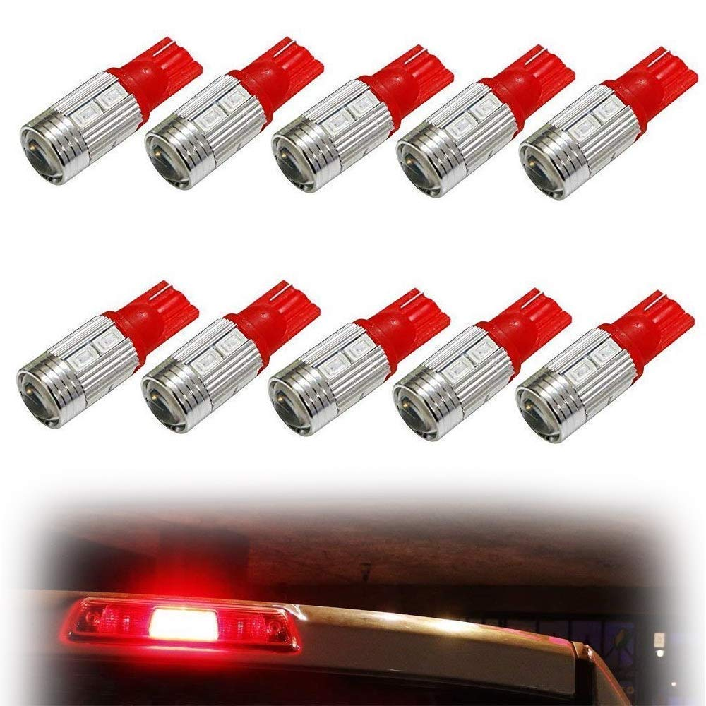 iJDMTOY (10) Brilliant Red 10-SMD 921 912 920 168 T10 LED Replacement Bulbs For Truck Exterior 3rd Brake Lamp Cargo Lights iJDMTOY Auto Accessories Car 12V Incandescent Replacement Bulbs
