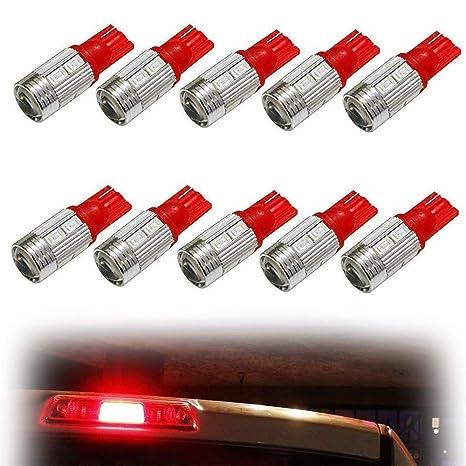 ijdmtoy (10) brillante rojo 10-SMD 921 912 920 168 T10 LED bombillas