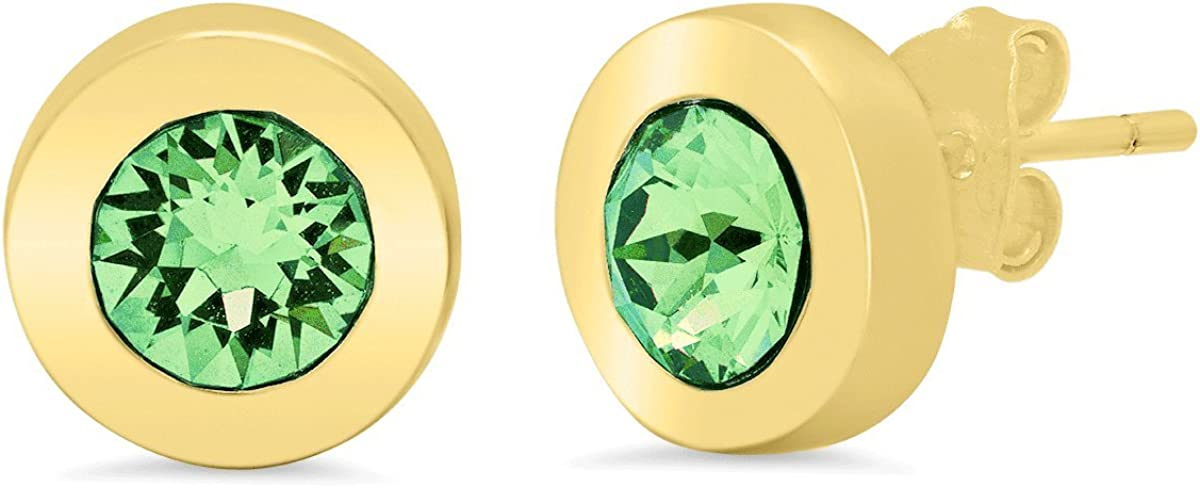CJ Minimalista by Caterina Jewelry Sterling Silver Gold-toned Minimalista Post Earrings with Austrian Crystals Green