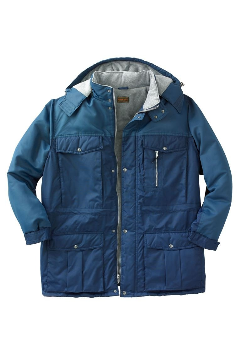 Boulder Creek Men's Big & Tall Colorblock Expedition Hooded Parka, Navy Blue by Boulder Creek