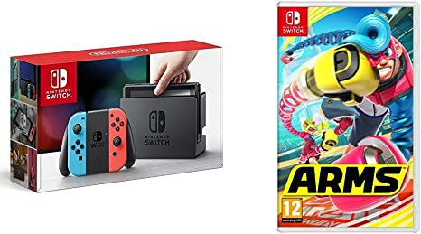 Nintendo Switch - Consola color Azul Neón/Rojo Neón + Arms: Amazon ...