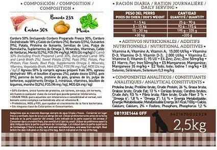 YERBERO Nature Grain Free de Cordero Comida SIN Cereales para Perros 2,5kg