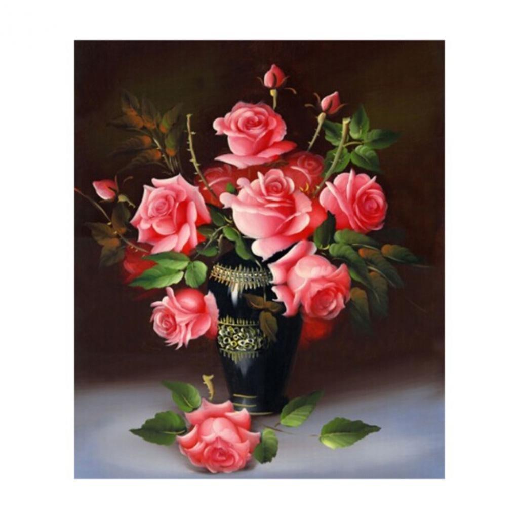 Zhouba DIY rose fiori vaso 5D pittura diamante ricamo Art Home Decor, Blue, taglia unica