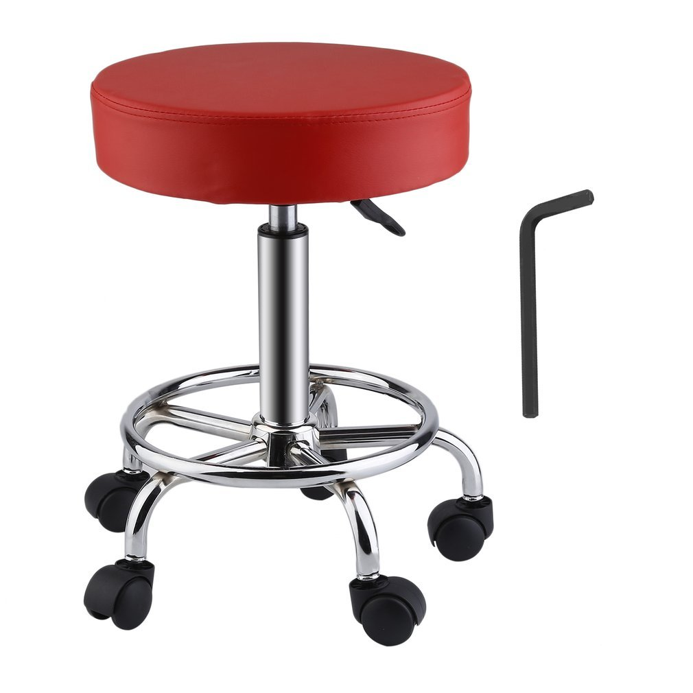 Upgraded Modern PU Leather Salon Stool | Blackpoolfa Relief Hydraulic Adjustable Swivel Drafting Stool Chair for Salon Spa Massage Kitchen Office Shop Club Bar (red)