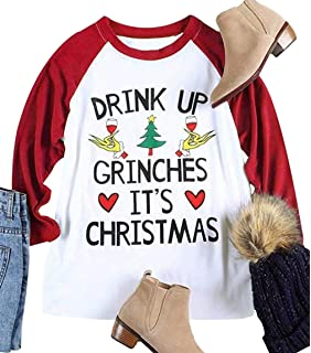 6910df31d83 Drink UP Grinches It s Christmas Women Plus Size 3 4 Sleeve Funny Cute  Christmas Graphic
