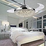 COLORLED Crystal LED Ceiling Fans Light 42 Inch Transparent 4 Blades Mordern Fan Chandelier For Indoor Living Room Dining Bedroom And Restaurant