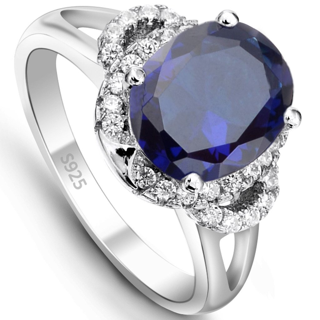EVER FAITH 925 Sterling Silver Oval Corundum Crystal Retro Floral Solitaire Cocktail Adjustable Ring