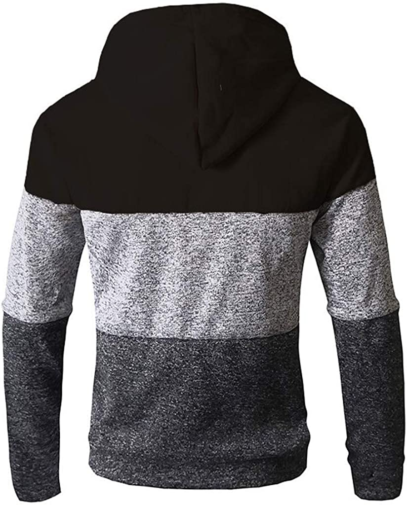 〓COOlCCI〓Mens Fashion Hoodies /& Sweatshirts Mens Novelty Color Block Patchwork Zip up Hoodies Cozy Sport Outwear Tops